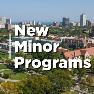 Aerial view of Rockefeller Chapel. Text reads: New Minor Programs
