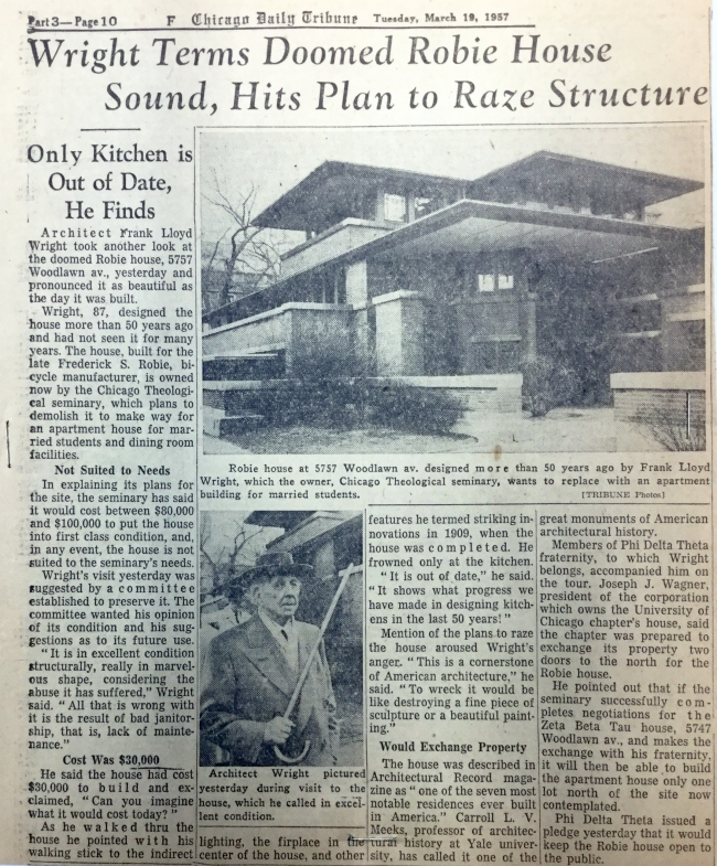 Chicago Daily Tribune March 1957 article on Robie House