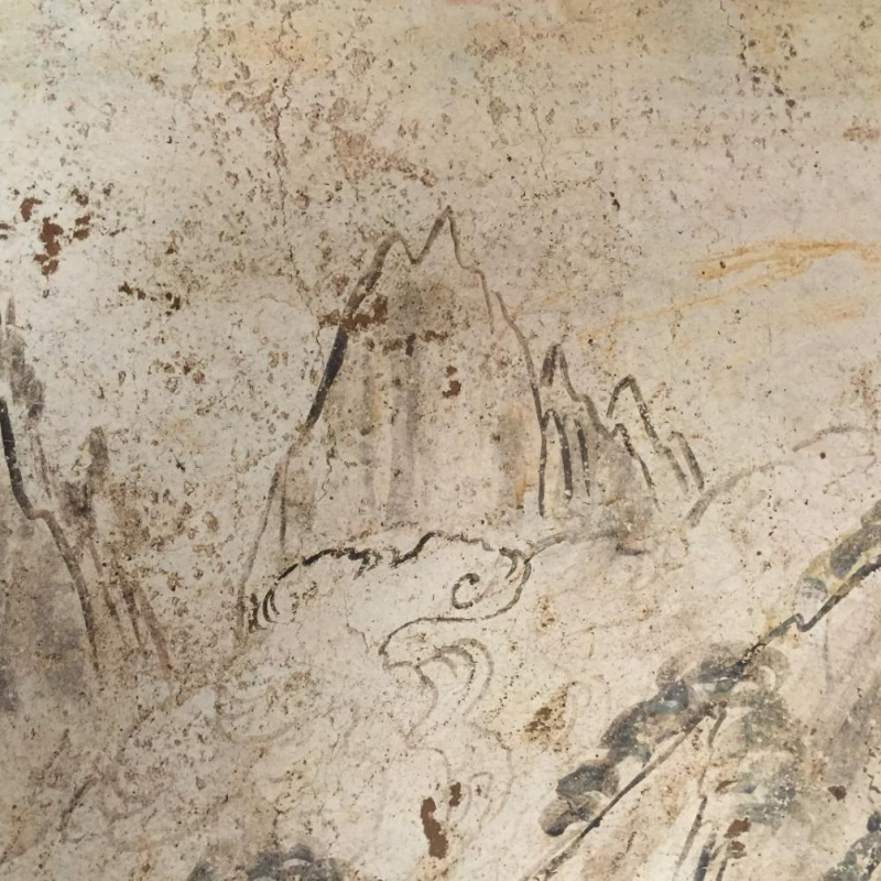 Details of the landscape mural in the tomb of Han Xiu 韩休 (740), photo by Wu Hung.