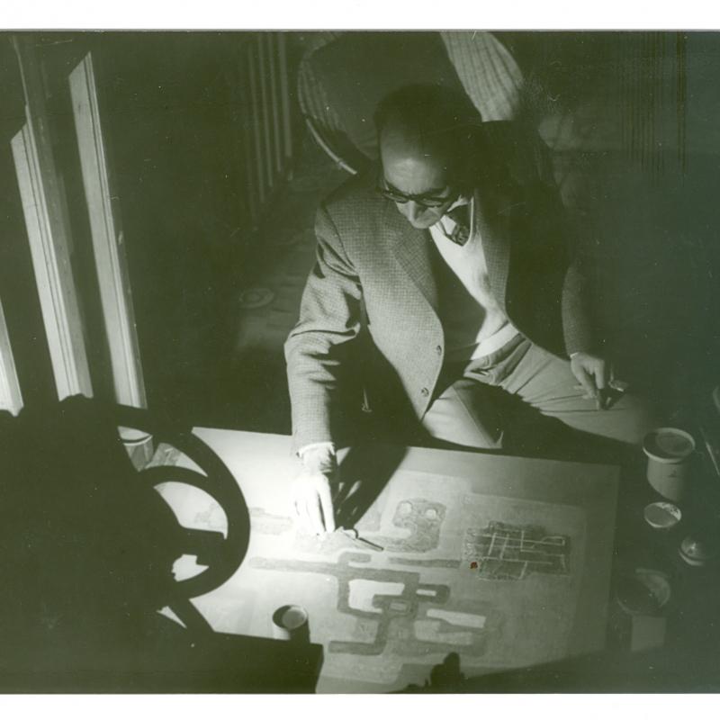 Mahmoud Hammad, working in studio, Damascus, Syria, c. 1965
