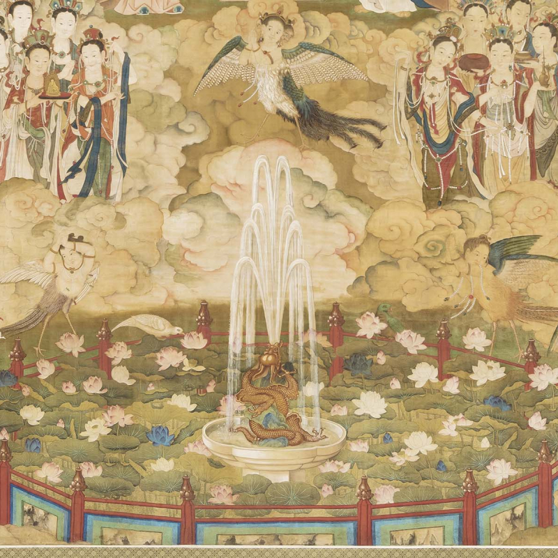 Details of a fountain from Ding Guanpeng's Buddha's Preaching, dated 1770. Color and ink on silk, 543 x 1015 cm.  Staatliche Museen zu Berlin, Ethnologisches Museum, Inv. ID 25376. Photograph: Jörg von Bruchhausen