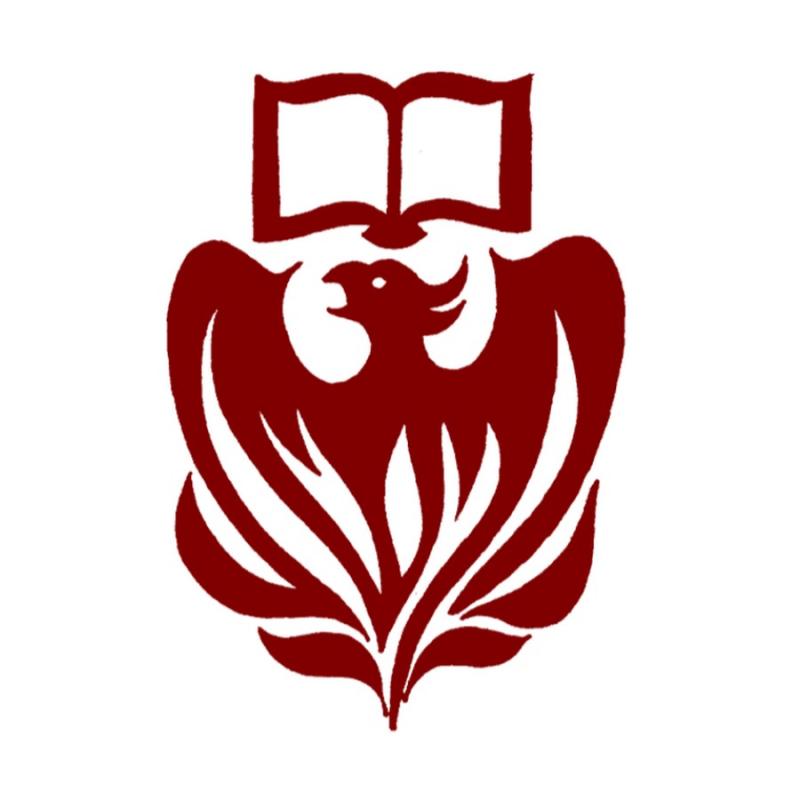 A maroon phoenix below an open book