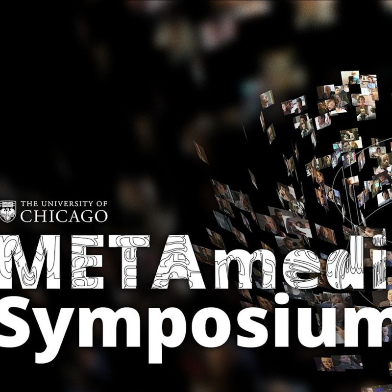 metamedia symposium text over a picture spiral