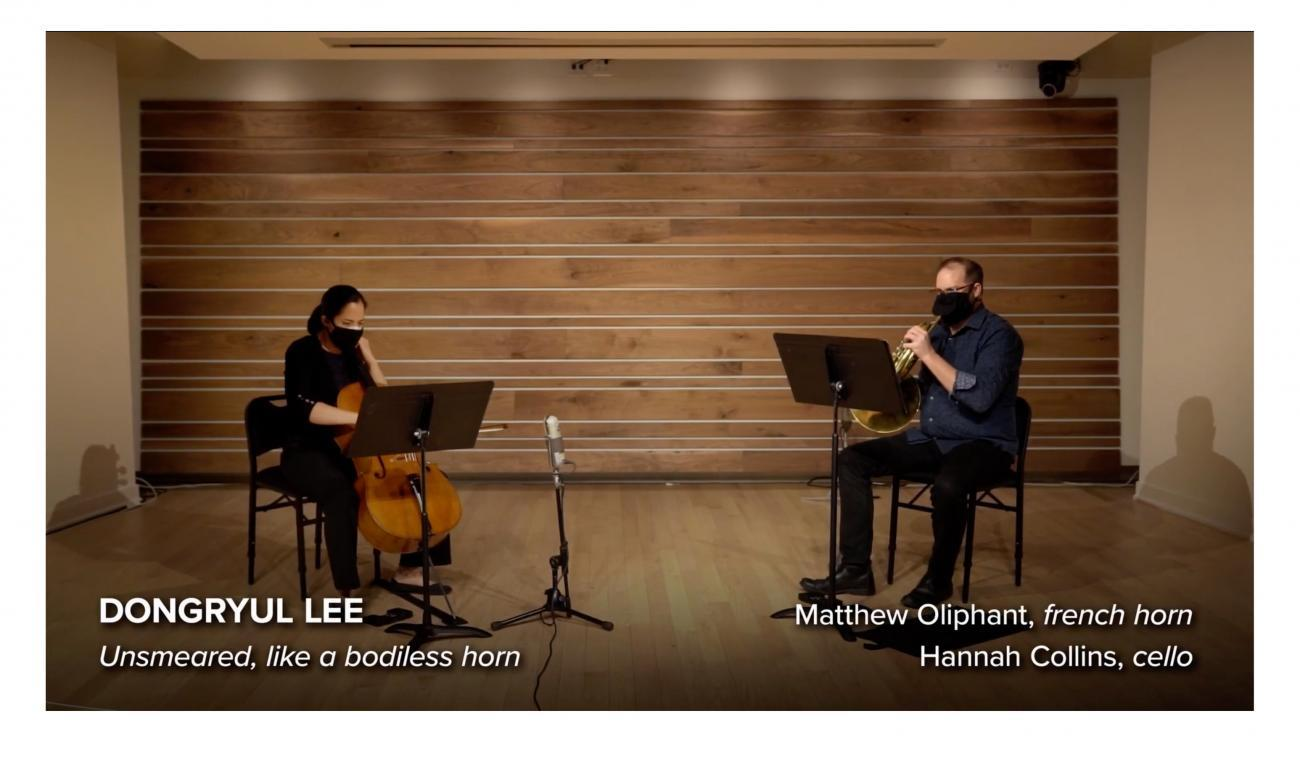 Matthew Oliphant, horn, and Hannah Collins, cello in performance