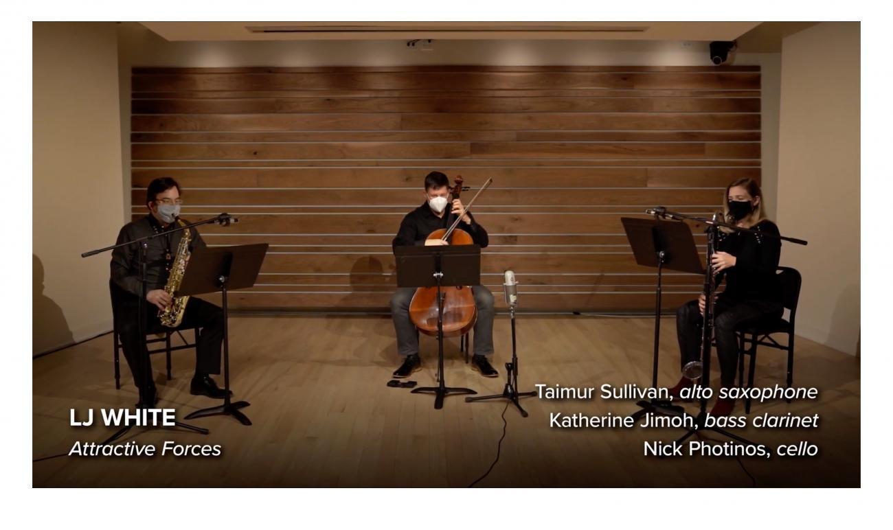 Taimur Sullivan, alto saxophone, Katherine Jimoh, bass clarinet, and Nick Photinos, cello in performance
