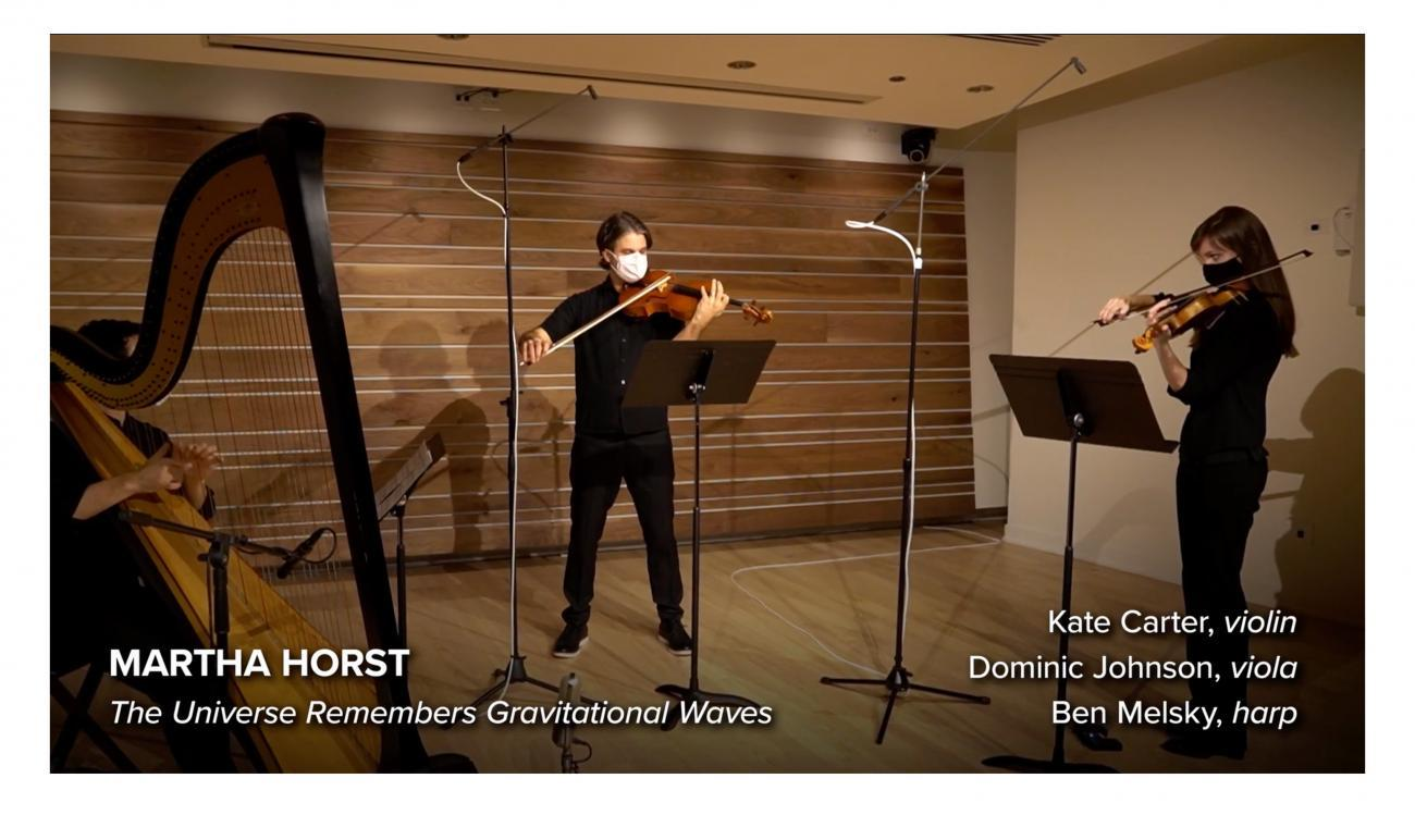 Kate Carter, violin, Dominic Johnson, viola, and Ben Melsky, harp in performance