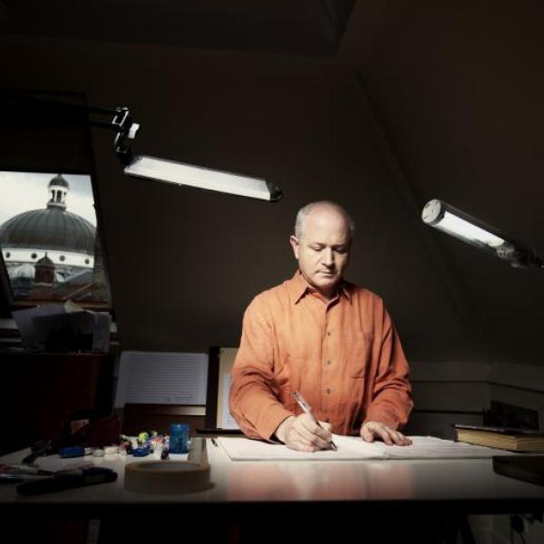 George Benjamin at writing desk