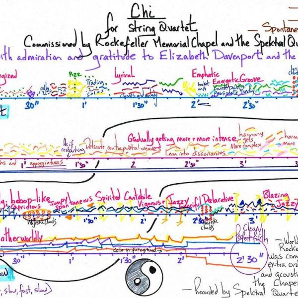 """A multi-color concept map of """"Chi"""" by University Professor Augusta Read Thomas."""