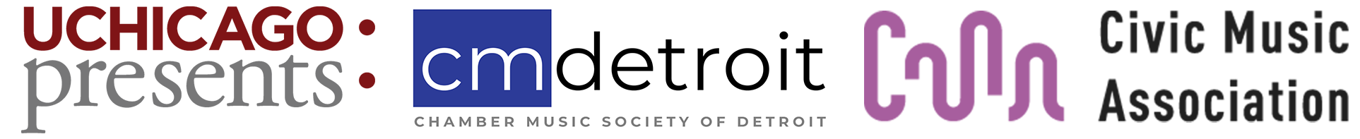 UChicago Presents, Chamber Music Society of Detroit, and Civic Music Association of Des Moines logos