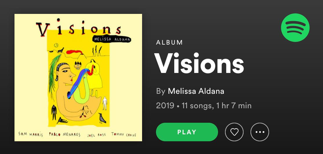 Screenshot of Spotify player for Melissa Aldana's Visions for Frida Kahlo