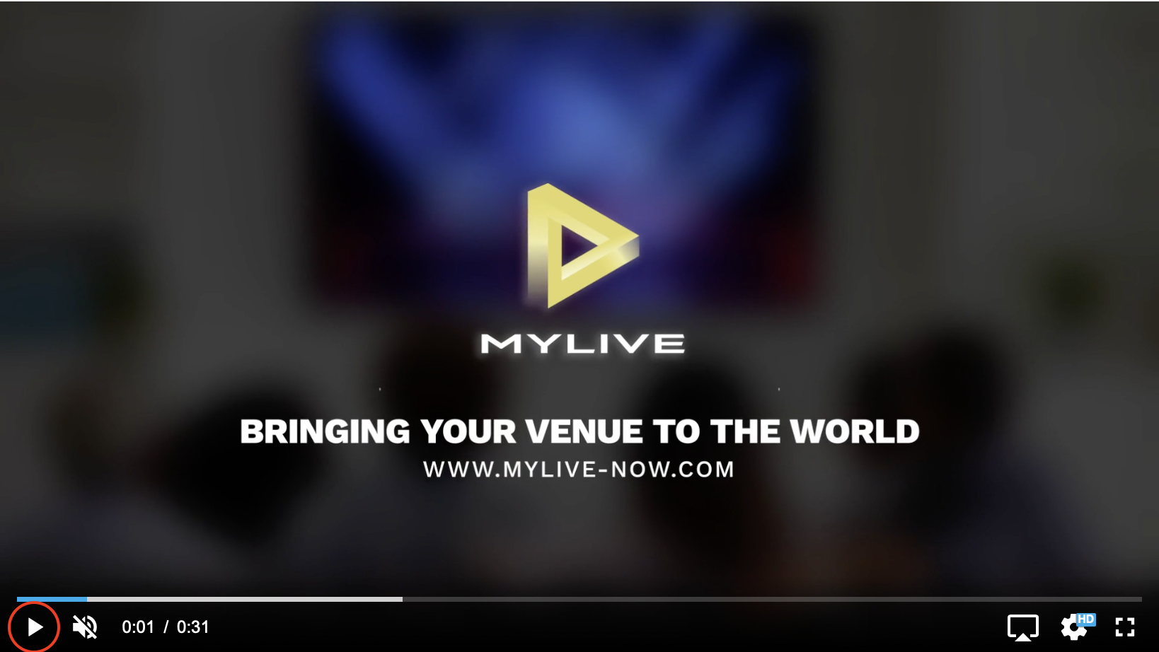 MyLive Play Button screenshot – a triangular button in the lower left corner is highlighted with a red circle