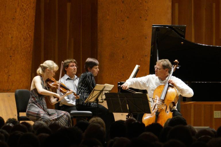 Piano trio of Musicians from Marlboro performing