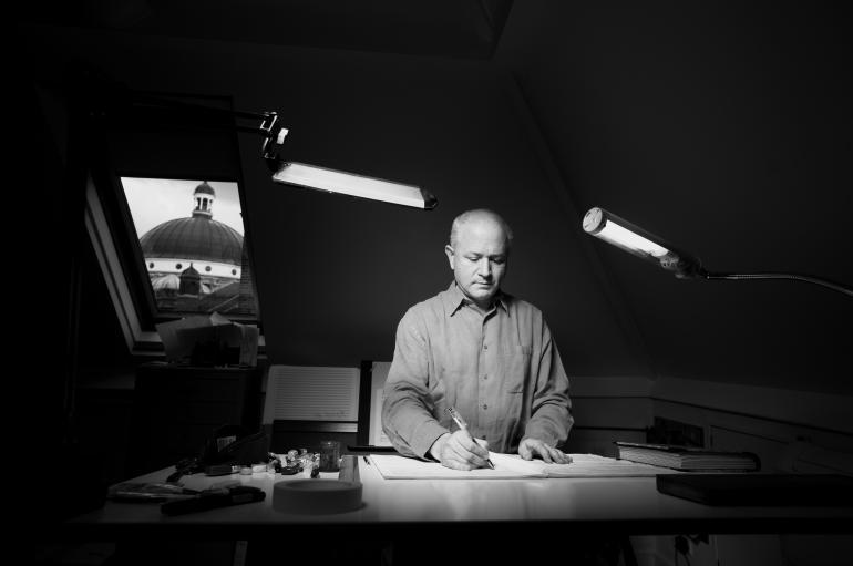 George Benjamin at writing desk photo credit Matthew Lloyd