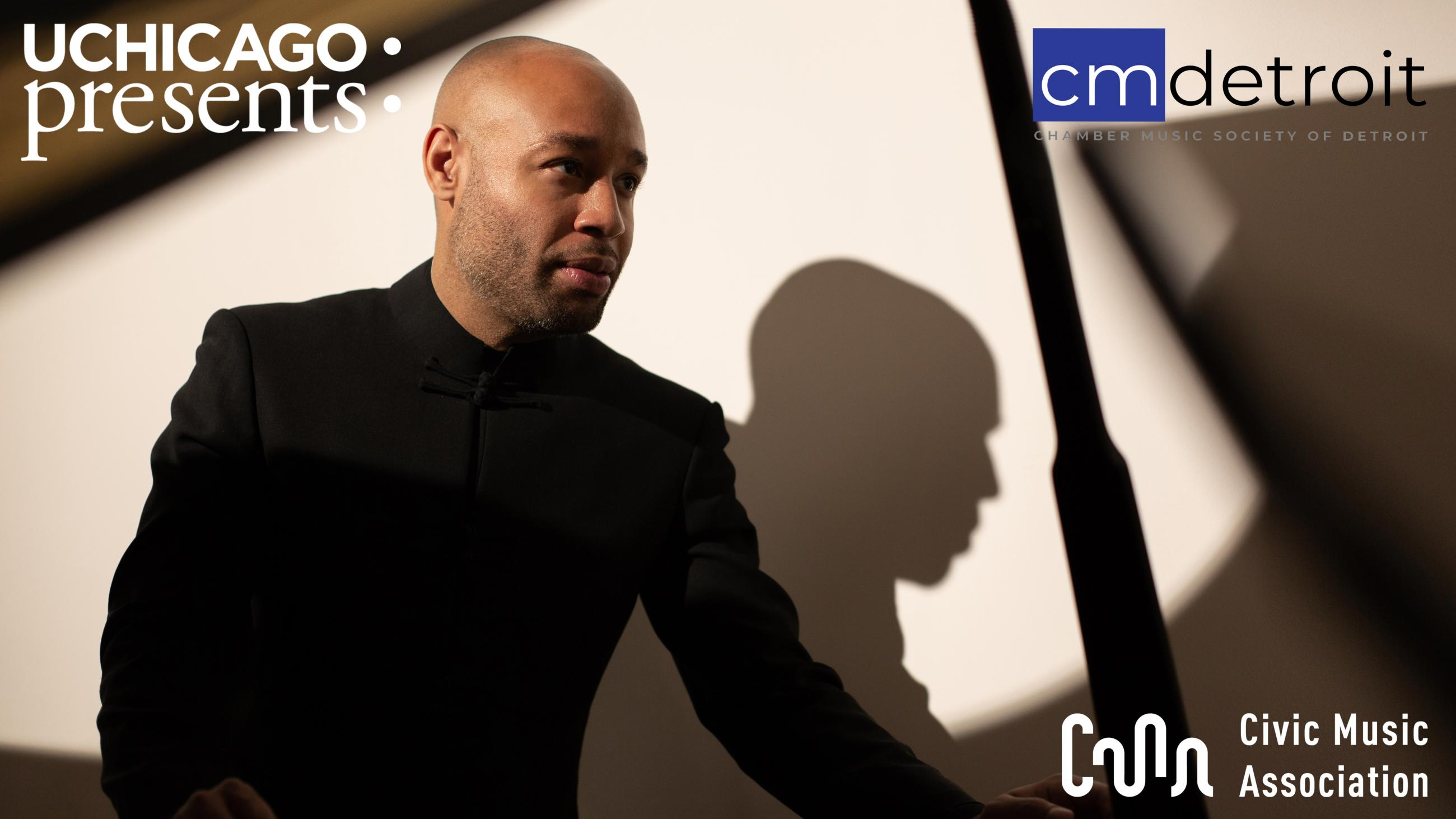 Aaron Diehl standing next to an open grand piano, overplayed with logos for UChicago Presents, Chamber Music Society of Detroit, and Civic Music Association of Des Moines