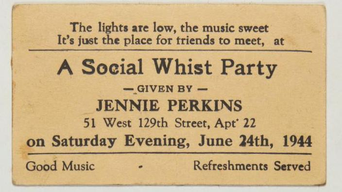 A yellowed business card invitation to a rent party in 1920s Harlem