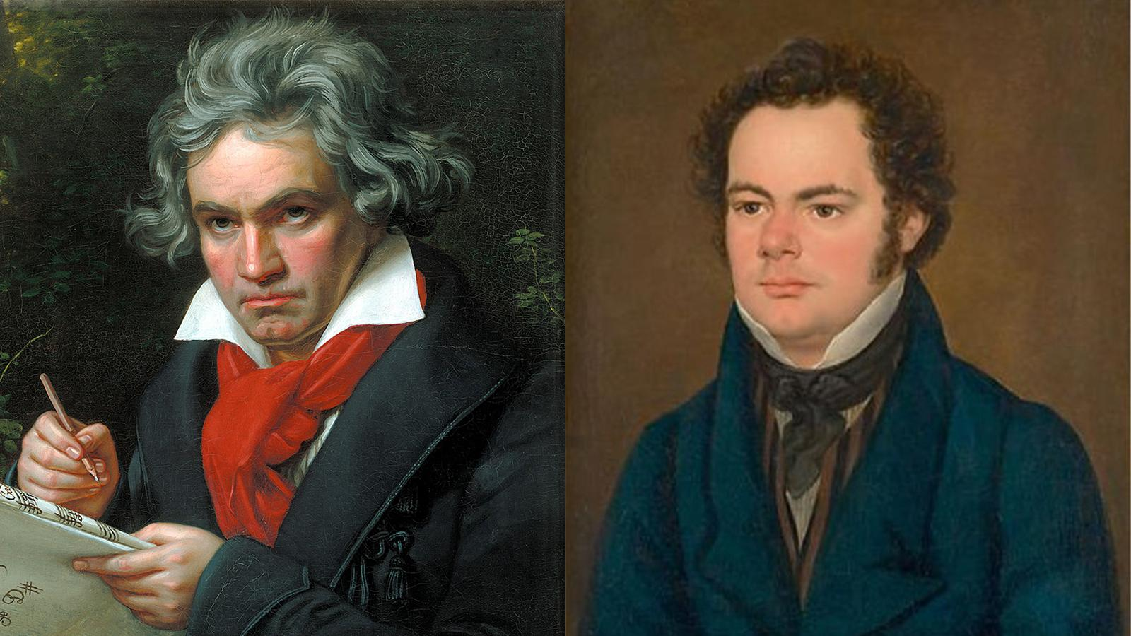 Side-by-side portraits of Beethoven and Schubert