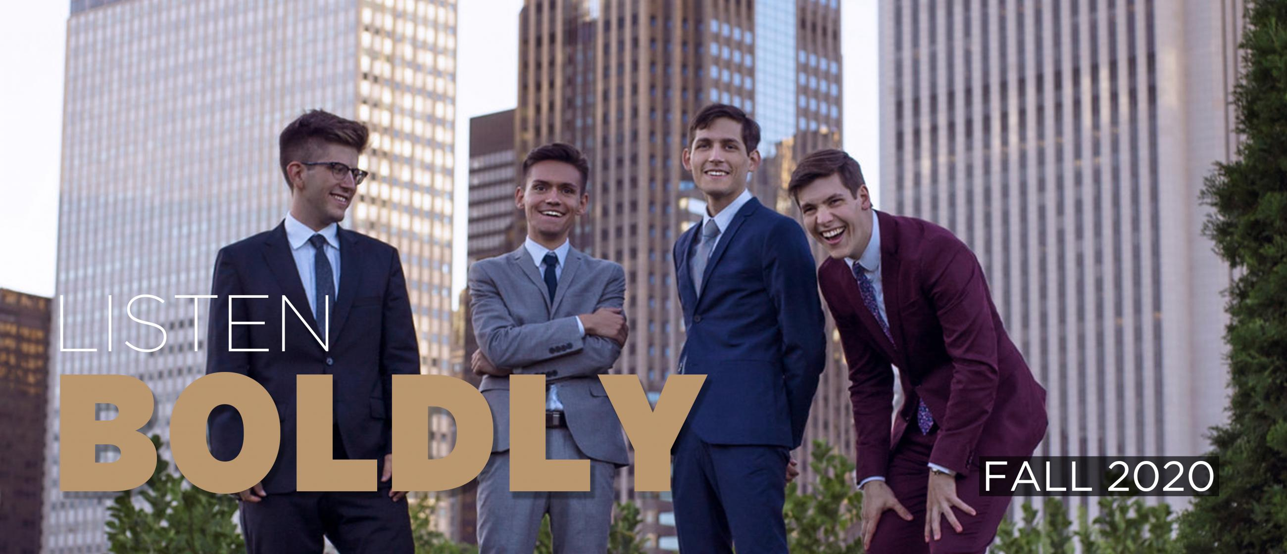 """Image of the four members of ~NOIS saxophone quartet standing in front of Chicago high-rise buildings, with the text """"Listen Boldly"""" and """"Fall 2020"""""""
