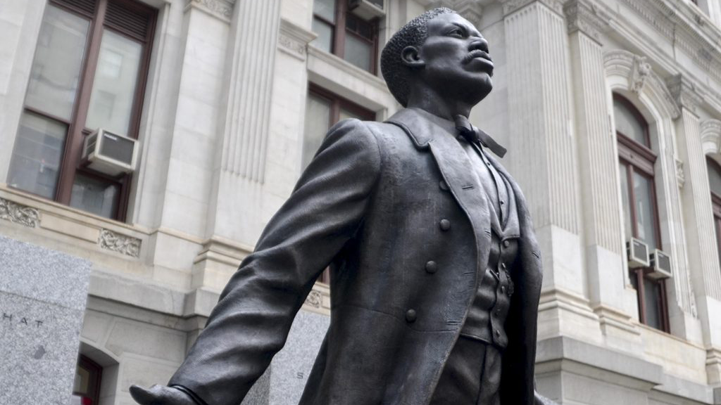 Close-up on statue of Octavius Catto outside Philadelpohia City Hall