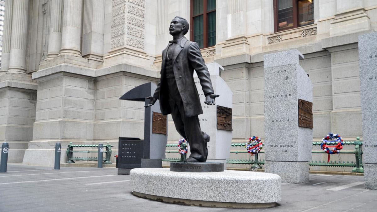 Statue of Octavius Catto outside Philadelpohia City Hall