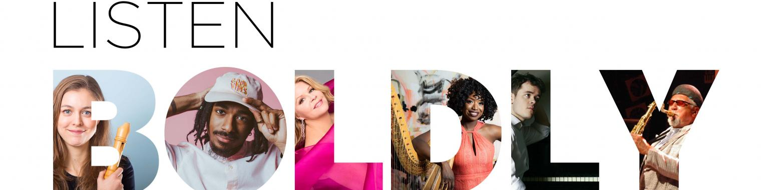 """Listen Boldly 2020/21 season – the letters of the word """"Boldly"""" have photos of the artists"""