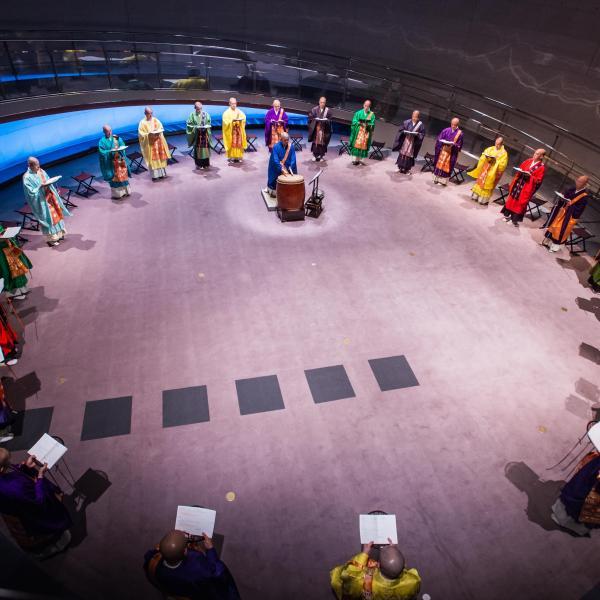 Shomyo no Kai performing in a circle