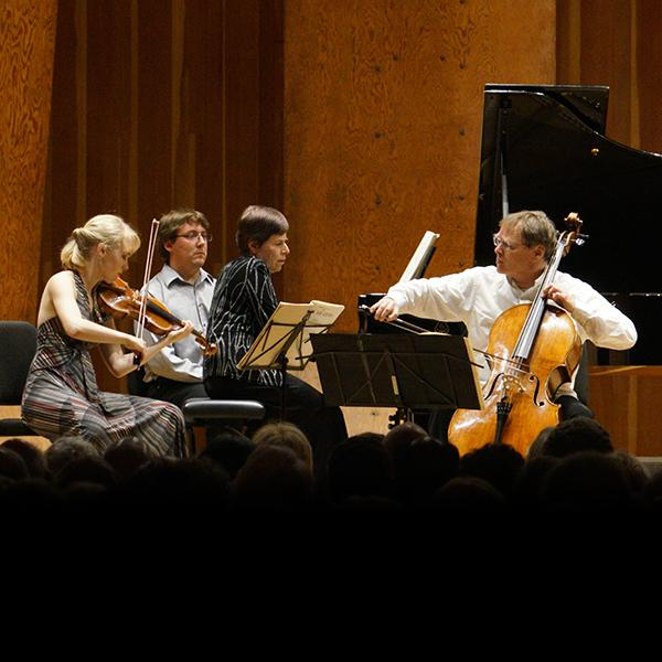 Robyn Bollinger, Cynthia Raim, and Christoph Richter performing the Brahms Piano Trio