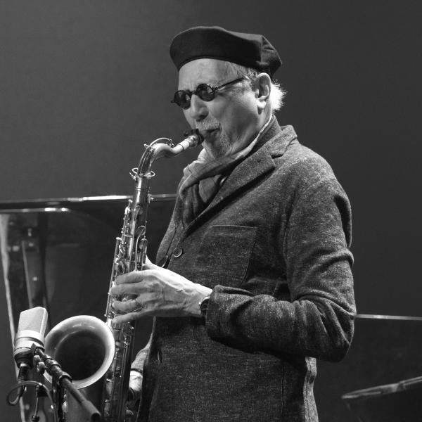 Charles Lloyd soloing black and white