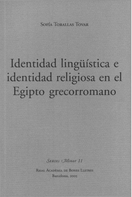 Identidad lingüística e Identidad religiosa en el Egipto Grecorromano