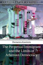 The cover of a book featuring an abstract image of a cluster of Greek columns with an oversized arm holding an hourglass emerging from between them.