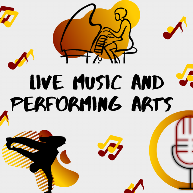 """A graphic on a gray background that says """"Live Music and Performing Arts"""" with maroon and gold music notes, a graphic of a person playing piano, a silhouette of a break dancer and a maroon and black outline of a microphone."""