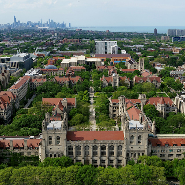 Aerial photo of Harper Memorial Library looking North across the quad and surrounding buildings.