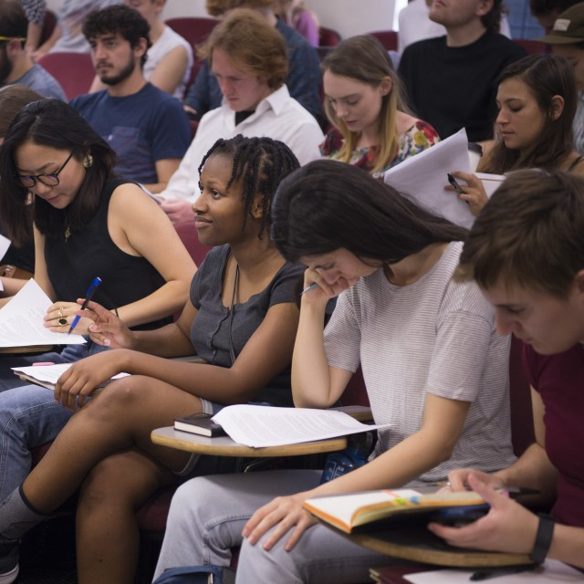 Students sit in a lecture course on the first day of school.