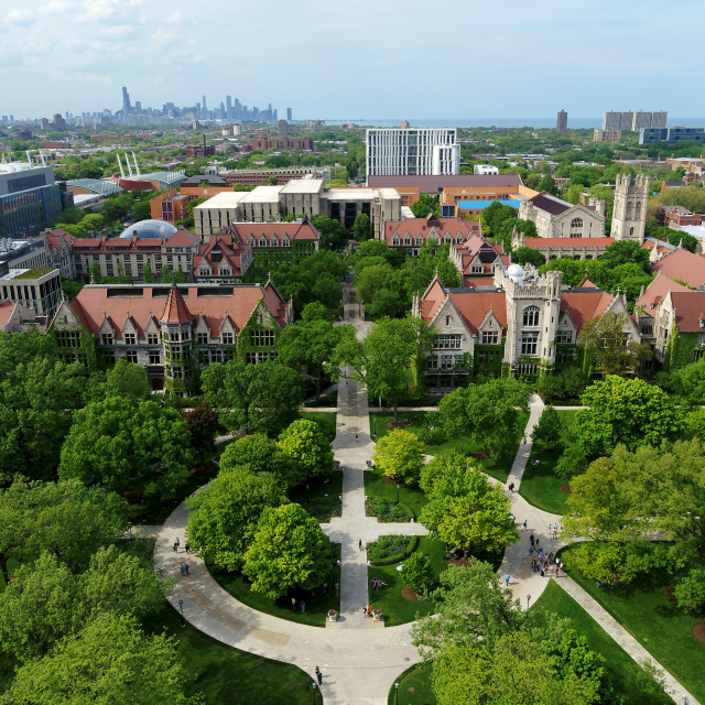 An aerial view of the UChicago campus in summer.