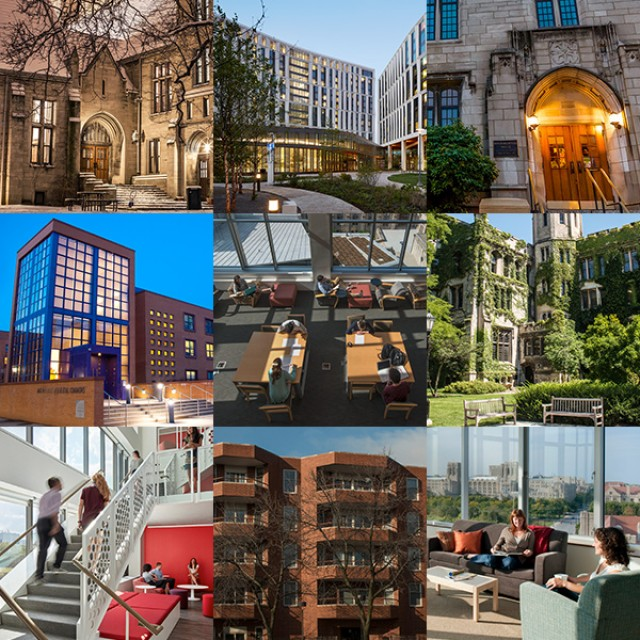 A 3x3 grid of photos displaying interior and exterior shots of dorm buildings.