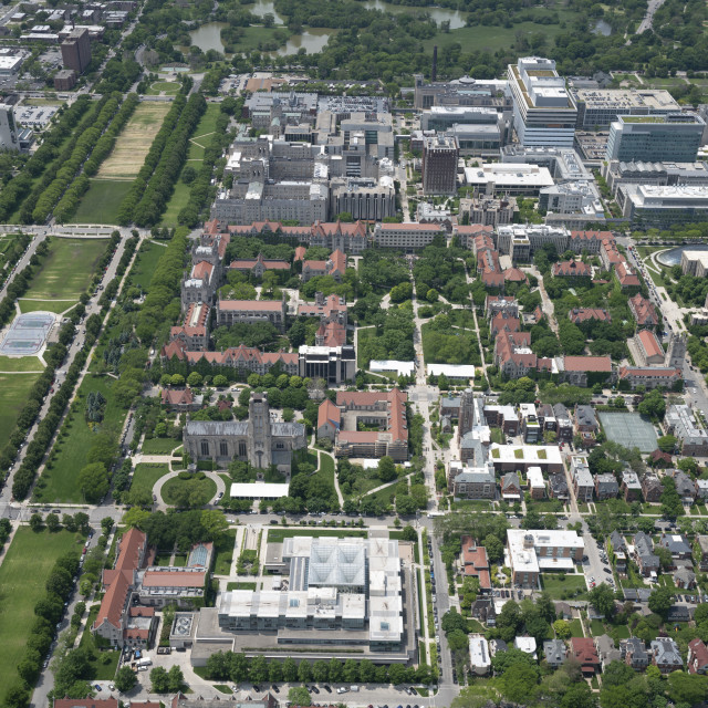 An aerial view of the main Uchicago campus, looking West, West of Kimbark and North of 59th St.