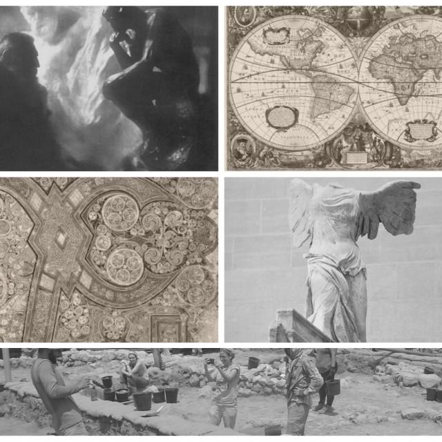 Classical humanities images including globe map, statues, and archeological dig.