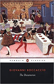 Cover of The Decameron with feast illustration