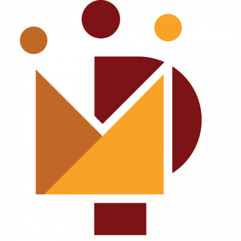 Stylized program logo with dots and letter P