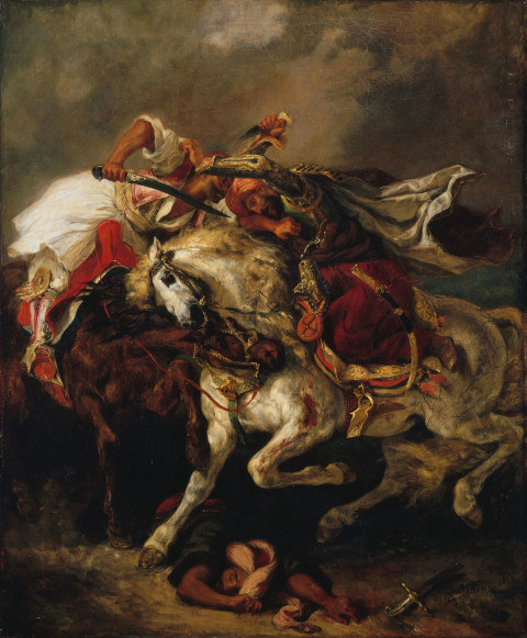 An image of Eugène Delacroix's painting The Combat of the Giaour and the Pasha