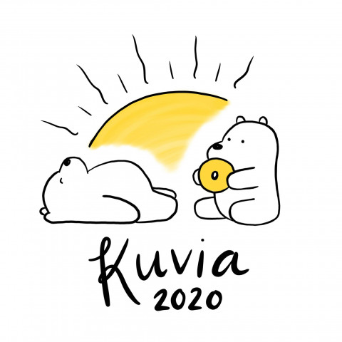 An illustration with two polar bears eating a bagel with a yellow sun rising in the background.