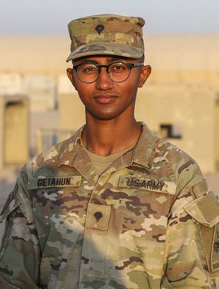 A portrait of Natnael M. Getahun wearing an army uniform.