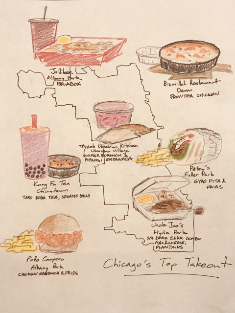 A hand drawn map of the outline of the city of Chicago with drawings of favorite takeout locations and their best dishes around the city.
