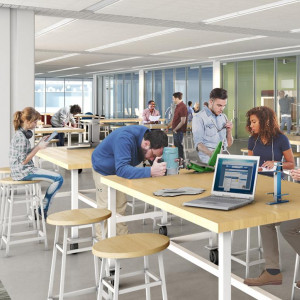 A rendering of students studying and mingling in the Media Arts, Data and Design Center is shown.