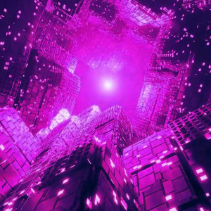 A bright purple rendering of a square-like graphic