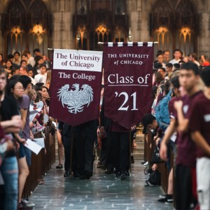 The Class of 2021 proceeds out of Convocation at Rockefeller Chapel.