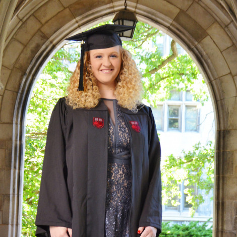 Portrait of Heather Weller in cap and gown.