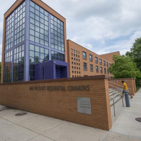 Modern glass and orange brick, exterior of dorm Max Palevsky.