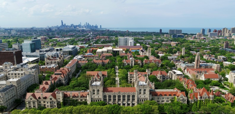 An aerial shot of the UChicago campus facing north on a cloudy day.