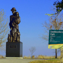 Steelworkers Park Statue