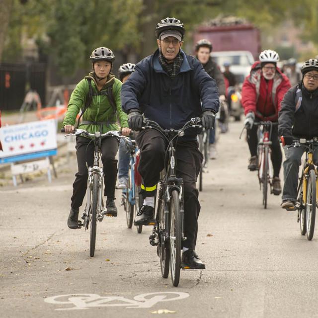 Dean Boyer leads a South Side History Bike Tour